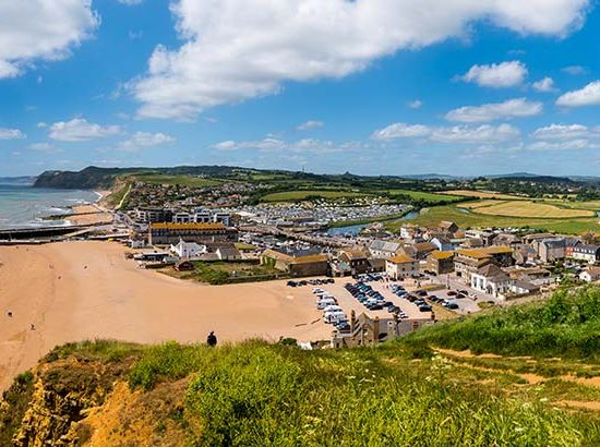 Panoramic view of West Bay in Dorset