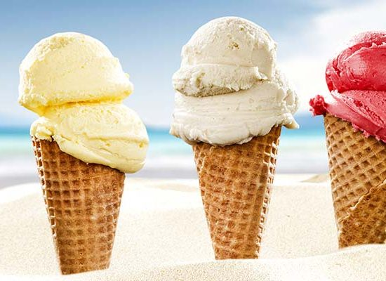 Ice Creams in a line on the beach
