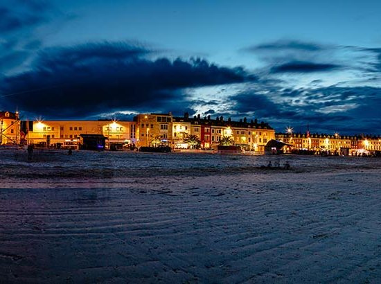 Dusk falling over Weymouth Harbour