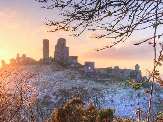 Corfe Castle Dorset Winter Scene