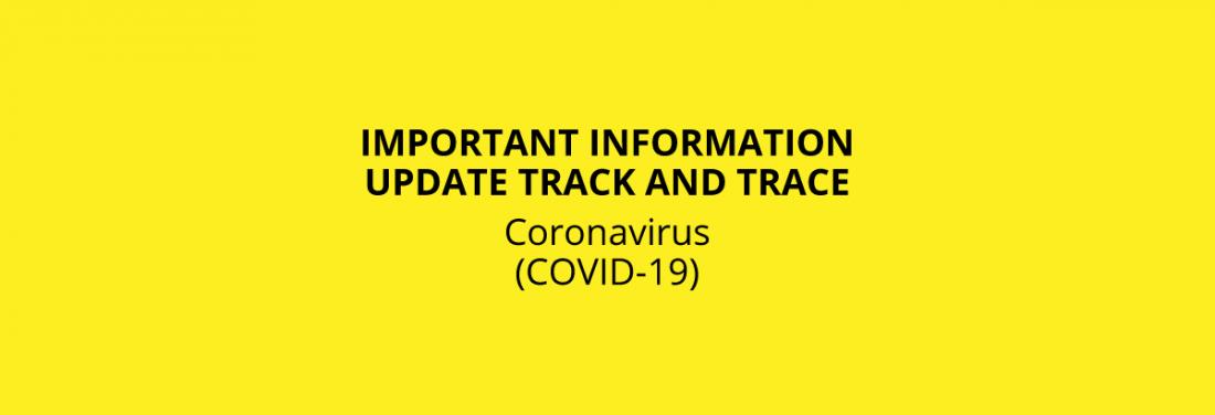 Coronavirus Information Header, Track and Trace